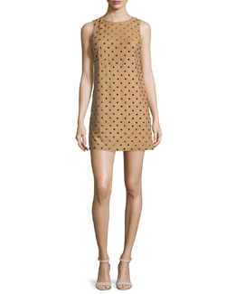 Clyde Studded Leather Shift Dress, Tan