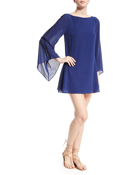 Alice + Olivia Eleonora Chiffon Mini Dress, Blue