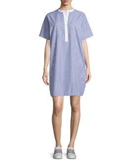 Striped Cotton Poplin Shirtdress, Blue/White