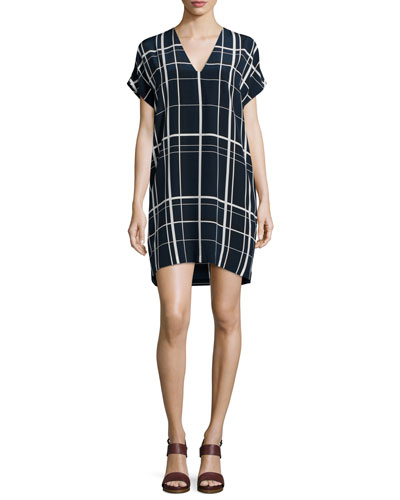 Lattice-Print Popover Dress