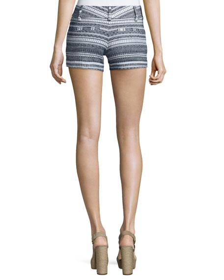 Striped Multipattern Cady Shorts, Blue/White