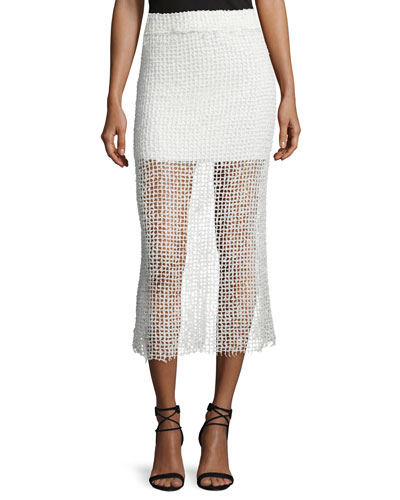 Denis Netted Midi Skirt, White