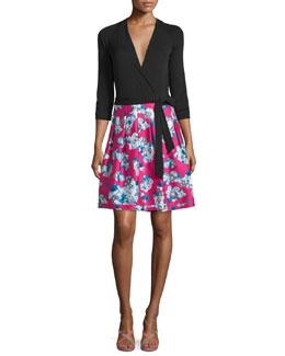 Jewel Wool & Silk Combo Dress, Black/Pink