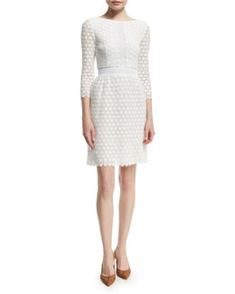 Nolly Cotton Honeycomb A-Line Dress, Ivory