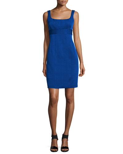 Sleeveless Skinny-Stripe Sheath Dress, Cobalt
