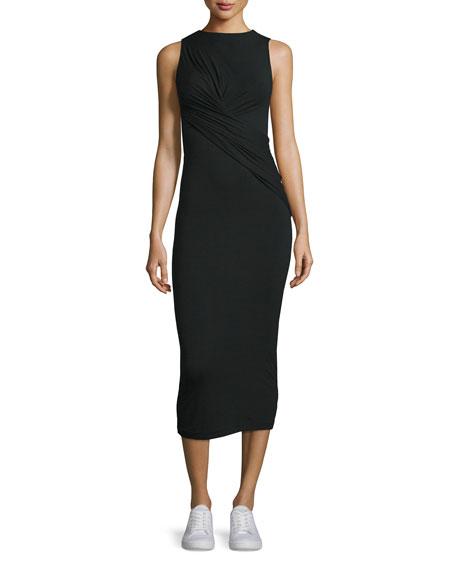 Twist-Front Stretch Jersey Midi Dress, Black