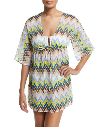 Ava Chevron Tunic Coverup, Azure/Multi