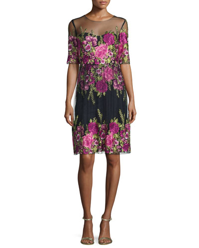 Half-Sleeve Floral-Embroidered Popover Dress
