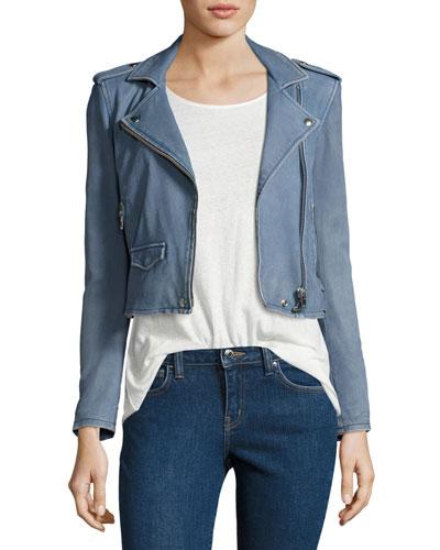 Ashville Cropped Leather Jacket, Light Gray