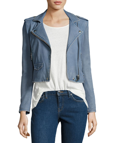 Ashville Cropped Leather Jacket, Light Gray