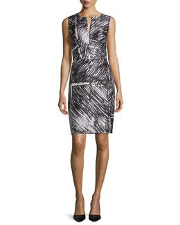 Sleeveless Printed Sheath Dress, Black