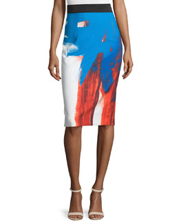 Modern Abstract Pencil Skirt, Multi Colors