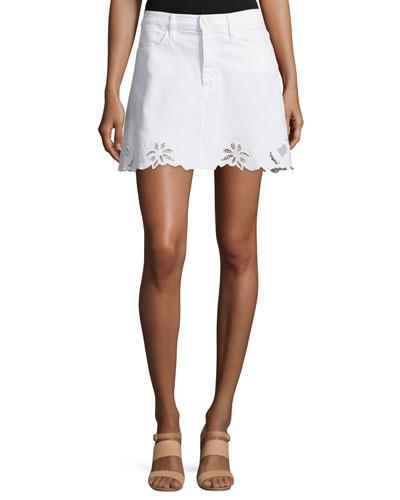 Le High Mini Denim Skirt, Blanc