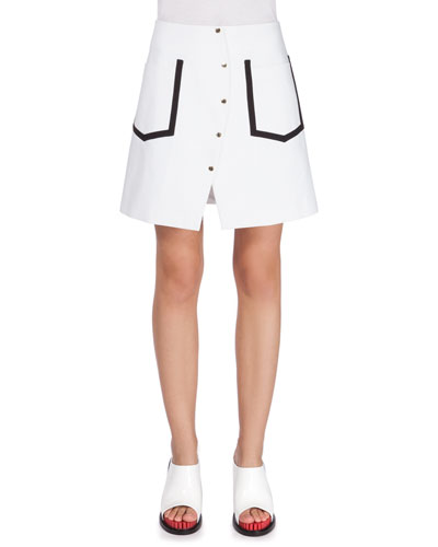 Button-Front A-Line Skirt, White