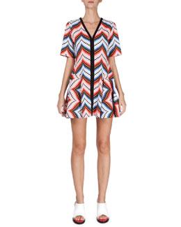 Short-Sleeve Chevron Mini Dress, Peach