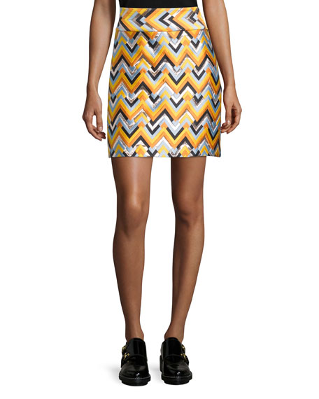 Chevron A-Line Skirt, Multi Colors
