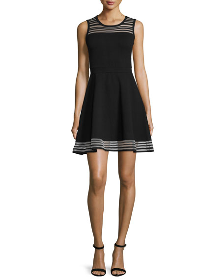 Sheer-Striped Fit-&-Flare Dress, Black