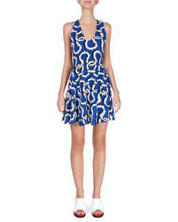 Sleeveless Printed Fit-and-Flare Dress, Royal Blue
