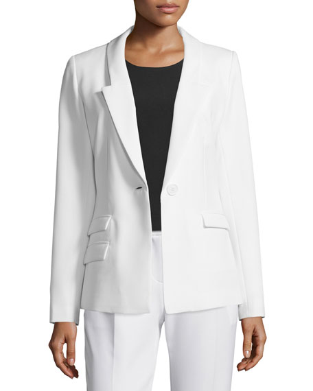 Slim-Fit One-Button Blazer, White