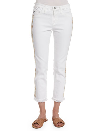 Stilt Embroidered-Outseam Mid-Rise Cropped Jeans, White