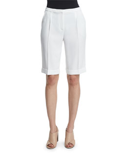 City Slim-Leg Bermuda Shorts, Optic White
