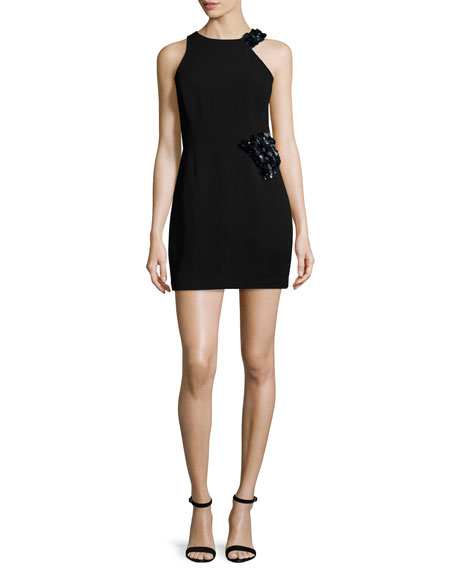 Halston Heritage Sleeveless Embellished Sheath Dress, Black