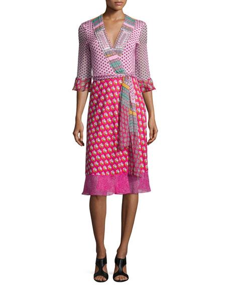 Nieves Zen Scarf Wrap Dress, Multicolor