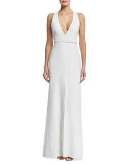 Sleeveless Trapeze-Back Gown, Linen White