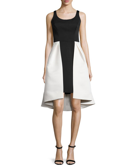 Halston Heritage Sleeveless Two-Tone Dress, Eggshell/Black