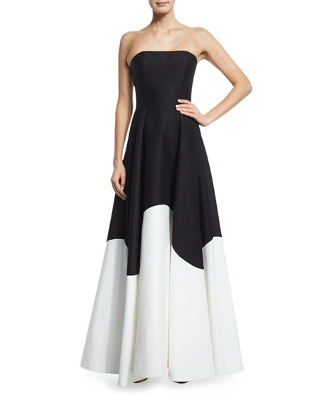 Strapless Colorblock Structured Gown, Black/Eggshell