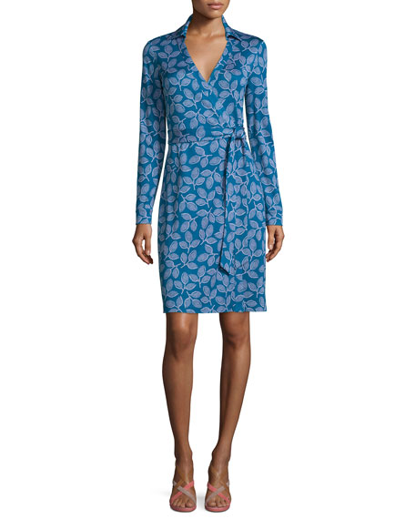 Long-Sleeve Leaf-Print Wrap Dress