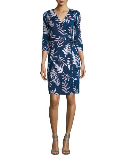 Long-Sleeve Floral-Print Wrap Dress, Leaves Indigo