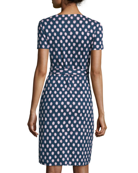 Short-Sleeve Polka-Dot Wrap Dress
