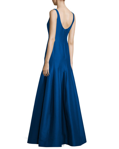 Tulip-Skirt Sleeveless Gown, Cobalt