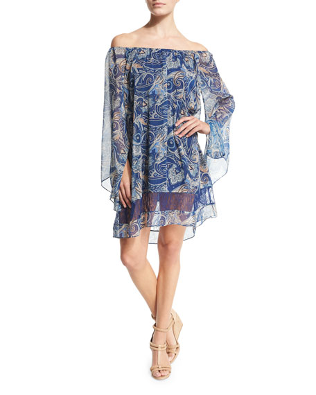Cari Paisley Chiffon Mini Dress, Multicolor