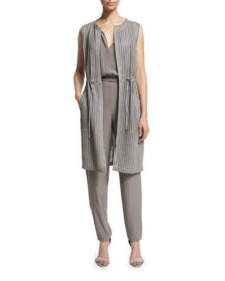 Elie Tahari Jordan Drawstring-Waist Long Vest, Cocoa