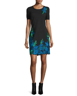 Royce Floral-Embroidered Sheath Dress, Black