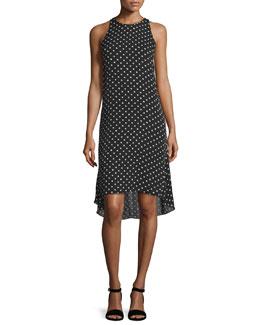 Adlerdale Haze Dot High-Low Dress, Black/Ivory