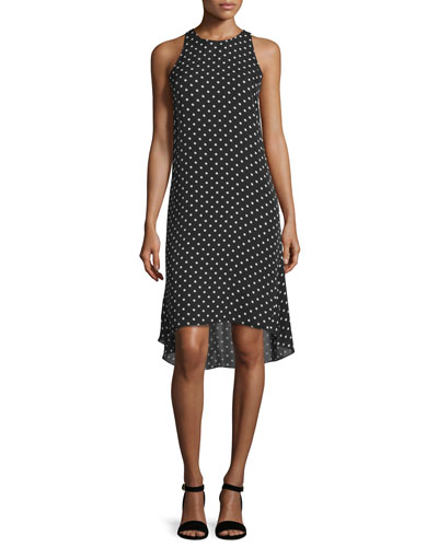 Adlerdale Haze Dot High-Low Dress, Black/Ivory