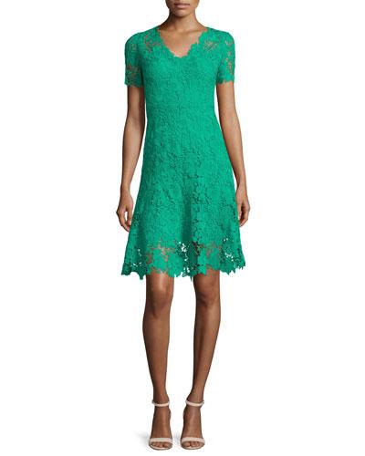 Samira Short-Sleeve Lace Dress, Palm