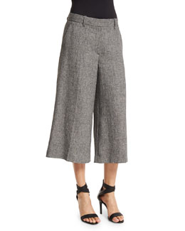 Halientra Wide-Leg Cropped Pants, Black/White