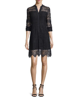 Whitney Lace-Overlay Shirtdress, Black