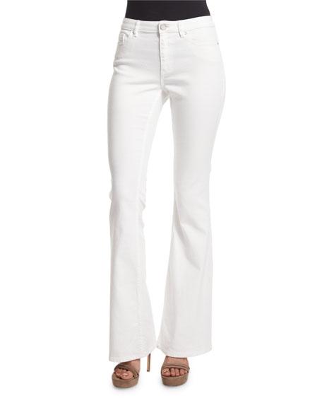 Elie Tahari Janice Flare-Leg Jeans, White