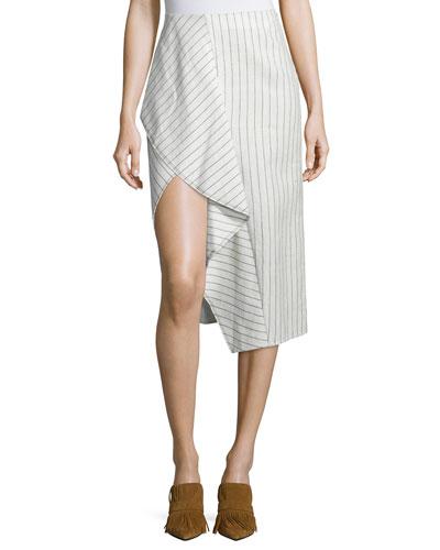 Draped Linen Pinstripe Skirt, Cloud