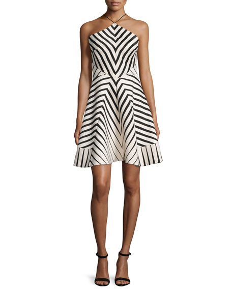 Halter-Neck Striped Fit & Flare Dress