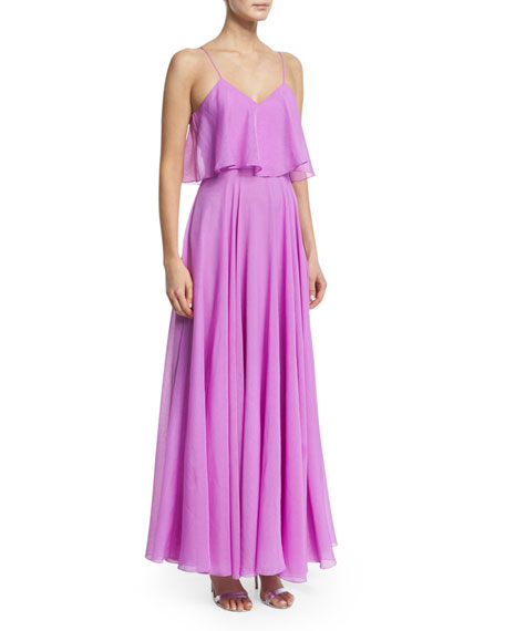 Halston Heritage Sleeveless Flounce-Bodice Georgette Gown, Tulip