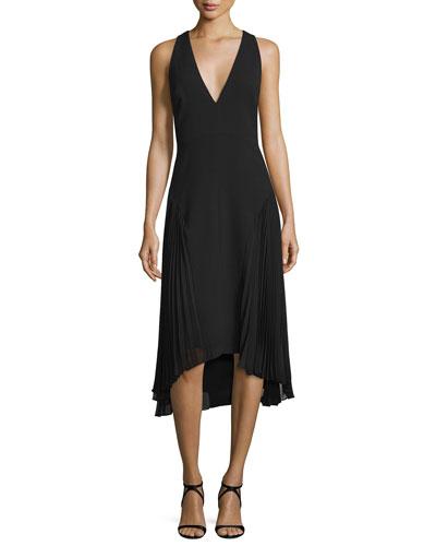 Sleeveless V-Neck Dress W/ Pleated Sides