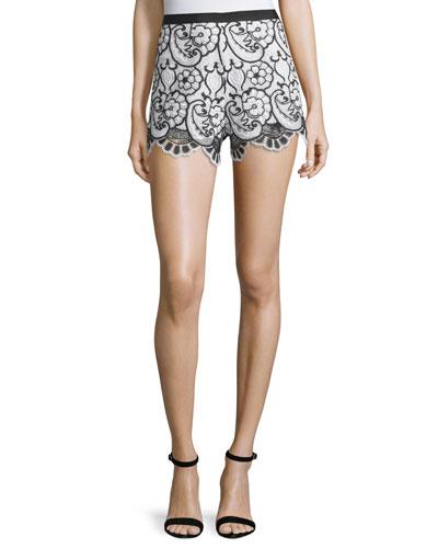 Pia Floral Lace Shorts, Black/White