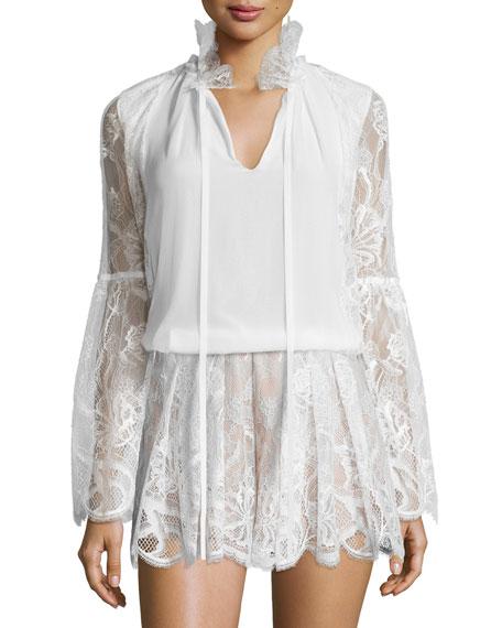 Tove Lace & Silk Blouse, White