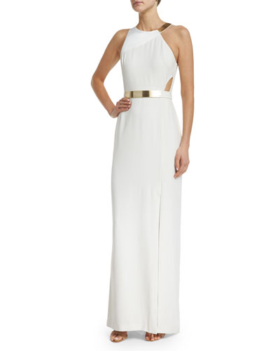 Sleeveless Column Gown W/Cutouts, Eggshell